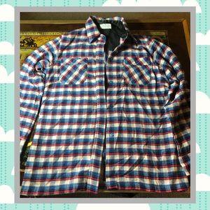 Vintage Men's Flannel Red & Blue Button Up
